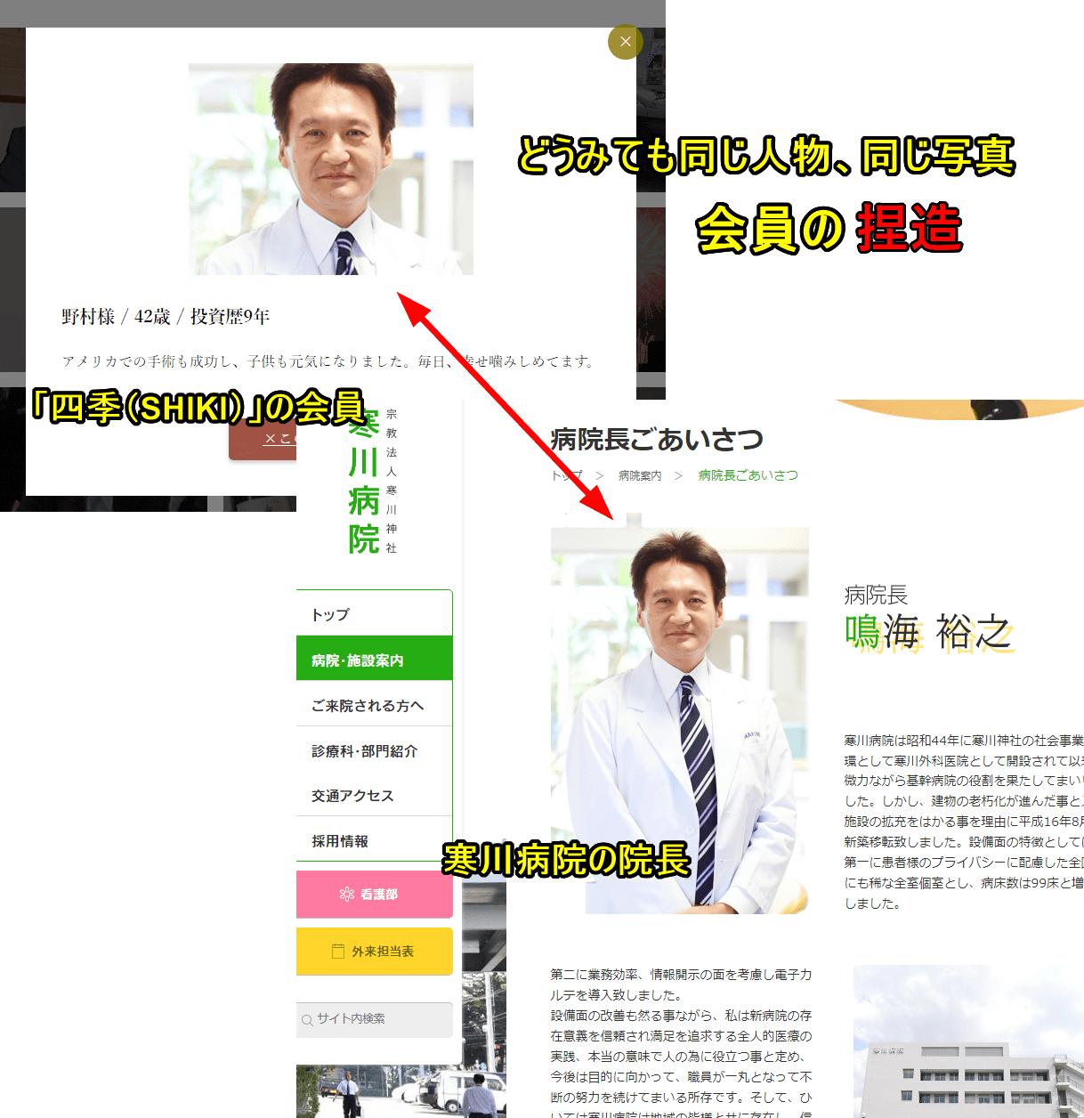 投資顧問 四季の会員画像ととある病院のHPに掲載された画像の比較